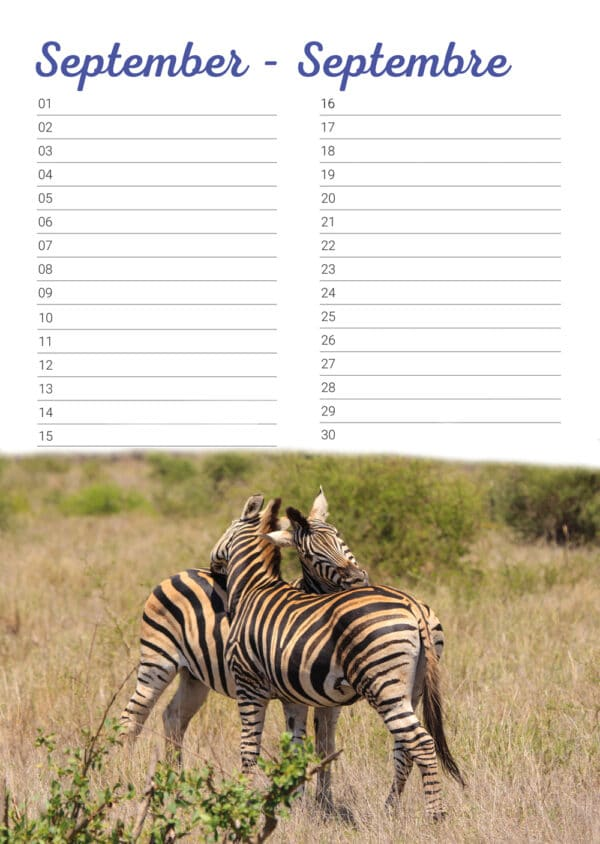 Calendrier d'anniversaire 'Animals in Love' Septembre
