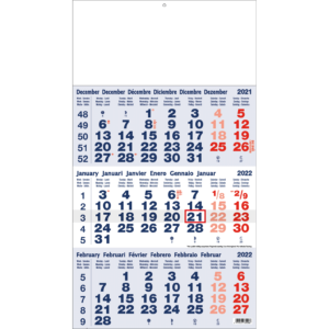 Calendrier trimestriel 2022 Classic bleu