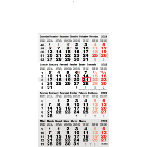 Calendrier 4 mois 2022 Classic gris