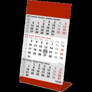 Calendrier de bureau 3 mois Color rouge 2022