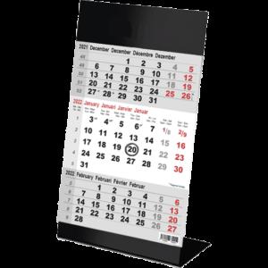 Calendrier de bureau 3 mois Color noir 2022