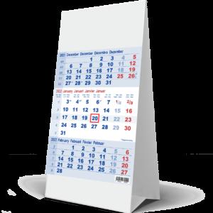 Calendrier de bureau 3 mois Bleu 2022