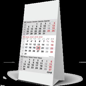 Calendrier de bureau 3 mois gris 2022
